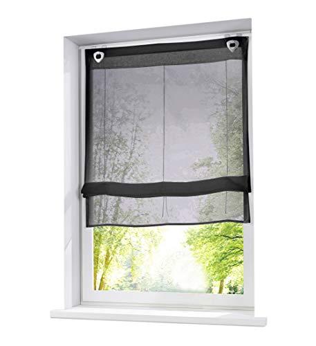 BAILEY JO 1er-Pack Raffrollo mit U-Haken Weiß Transparent Voile Ösenrollo Vorhang (BxH 100x130cm, Dunkel Grau)