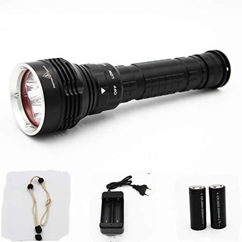 Linterna de buceo recargable de linterna 6000lm 5 * XM-L2 LED 3 antorcha ligera bajo el agua 100M 18650 o 26650 Cargador de batería FDWFN (Color : Package C)