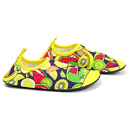 QAOSHOP Kids Swim Water Shoes Anti Slip Aqua Socks, Quick Dry Pool Beach Barefoot for Boys Girls Children,A,26
