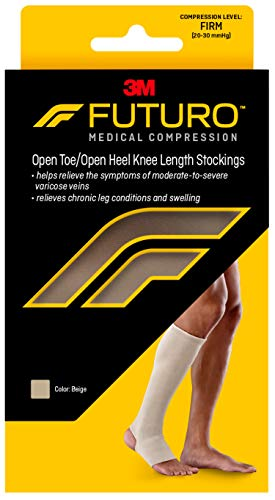 Futuro - MMM-414 Therapeutic Knee Length Stocking for Men/Women, Helps Relieve Symptoms of Mild Spider Veins, Firm Compression, Open Toe/Heel, Large, Beige, 1 Count