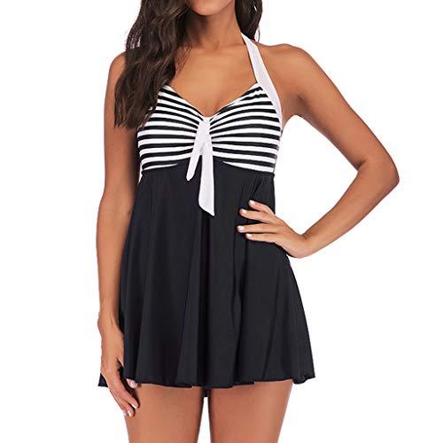 Tomppy Women Plus Size Swimsuits Tankini Swimwear Sleeveless Halter Stripe Swimdress + Boyshorts Beach Bathing Suits Black