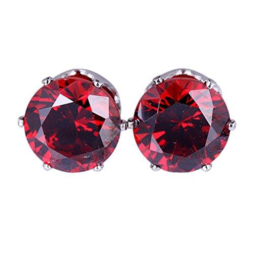 Pendientes de acero hipoalergénico circonio cúbico Yazilind moda precioso de multicolor para la Mujer plata roja