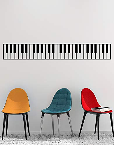 Piano Keys Wall Decal Sticker. Musical Instrument Decor. - Black, 10 x 72. Easy to Apply & Removable.