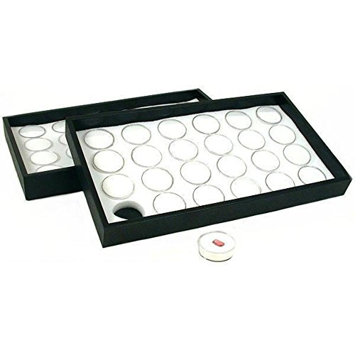 FindingKing 2 White 24 Gem Jars Display Insert & Stackable Trays