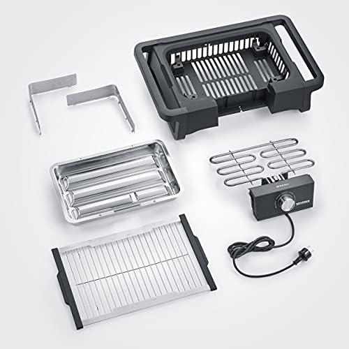 """SEVERIN Barbecue de Table """"STYLE Evo"""" 2 500 W, jusqu'à 350°C en 10 min., bac à eau réducteur de fumée et d'odeurs, Noir, PG 8123"""