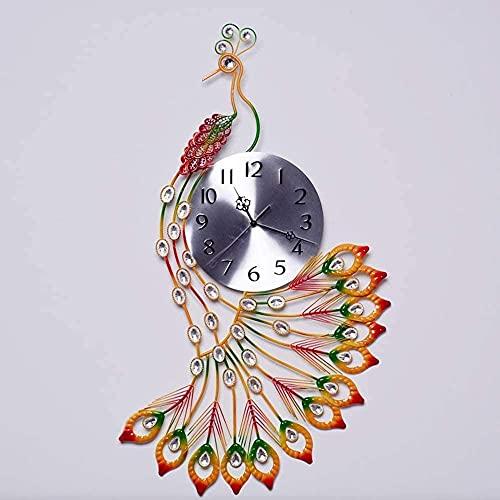 TBUDAR Reloj de pared de pavo real moderno de hierro forjado reloj de pared Living Creative Art Personalidad Reloj de cuarzo silencioso grande (17 x 30 pulgadas)