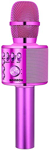 BONAOK Drahtloses Bluetooth-Karaoke-Mikrofon, tragbares 3-in-1-Karaoke-Handmikrofon Geburtstagsgeschenk Home-Party-Lautsprecher für iPhone/Android/iPad/Sony, PC-Smartphone (Lila)