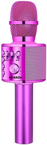 Micrófono de Karaoke Bluetooth, BONAOK Máquina de Karaoke Inalámbrica Portátil 3 en 1 para Niños, Altavoz de Mano de Karaoke MIC, Micrófono para Casa Cantar, Compatible con iPhone/Android/PC (Púrpura)