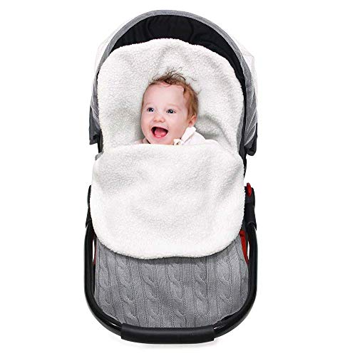 Schlafsäcke Baby Winter,Neugeborenes Gestrickt Wickeln Swaddle Decke Warme Fleece Gefüttert Kinderwagen Schlafsack für 0-12 Monat (Gris, 38 * 68cm/14,9