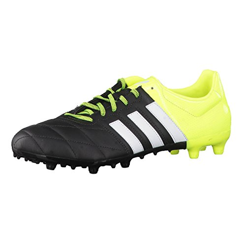 adidas Ace 15.3 FG/AG Leather, Botas de fútbol Hombre, Negro/Lima/Blanco, 40 2/3