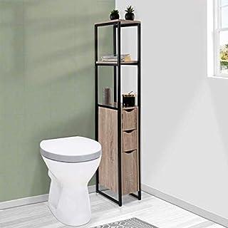 IDMarket - Meuble WC 3 portes design industriel avec étagères