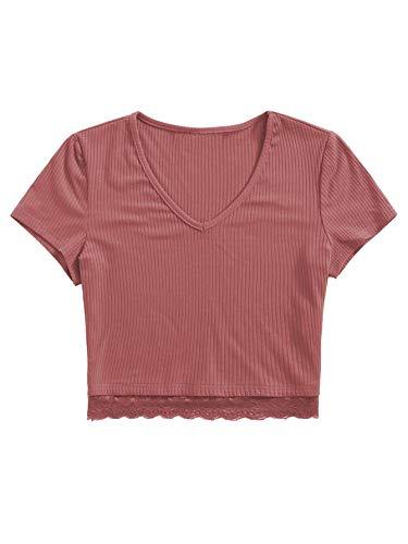 SweatyRocks Women's Sexy V Neck Lace Hem Ribbed Knit Tee Shirt Crop Top (Small, Pink)