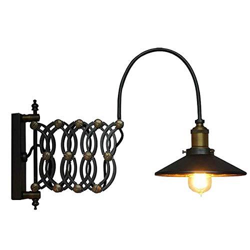 LSLVKEN Lámpara de Pared Industrial Vintage Metal Negro Lámpara de Pared Ajustable de Lectura Trasera Acordeón Extensible Aplique de Pared E27 para Dormitorio Loft Work Office Corridor