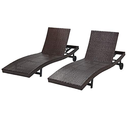 Laurel Canyon Chaise Lounge Sets with Wheels PE Rattan Adjustable Back 2 Pieces Outdoor Wicker Reclining Chair for Patio, Beach, Yard, Pool, Brown