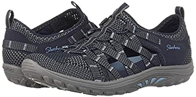 Skechers Women's Reggae Fest-NEAP-Webbing Trimmed Knit Fisherman Oxford Flat, Navy, 10 M US