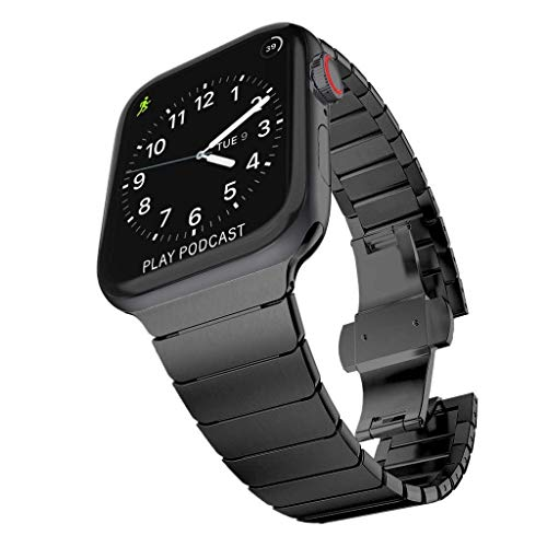 TECHGEAR Watch Band Compatible with Apple Watch 44mm / 42mm Steel Link Bracelet Watch Strap Wrist Band with Butterfly Metal Clasp for new Series 6, SE, Series 5 4 3 2 1 - Black