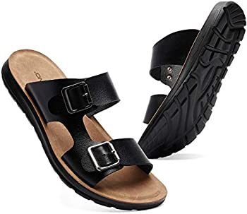 Joinfree Mens Leather Slide Adjustable Double Buckle Sandals