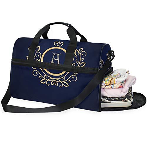 DEZIRO Weekender Bag Canvas Seesack für Reisen, Monogramm 45L Duffel Overnight Weekend Bag