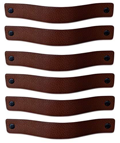 Brute Strength - Maniglie in pelle - Marrone castagna - 6 pezzi - 20 x 2,5 cm - include 3 colori di viti per maniglia in pelle per armadi da cucina - bagno - armadietti