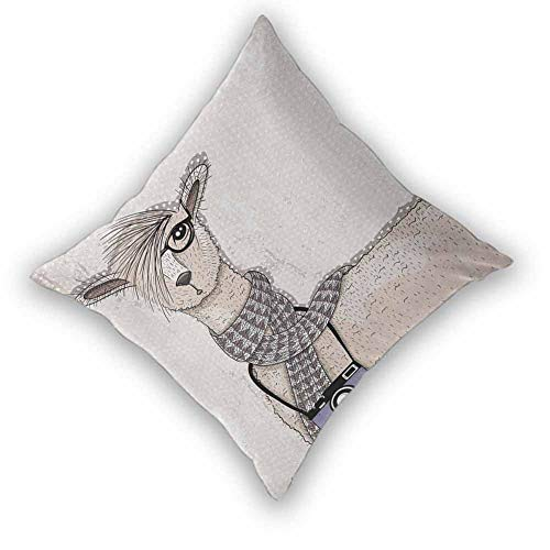 sashimii Animal Throw Pillow Covers, Llama with Camera Scarf and Glasses Hipster Animal on a Dotted Beige Background Various Print Fashion Patterns for Couch/Bed/Sofa, W26 xL26 Multicolor