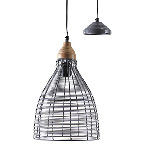 PEGANE Lampe Suspension en métal laqué Gris et Bois - D 26 h 40-113 cm