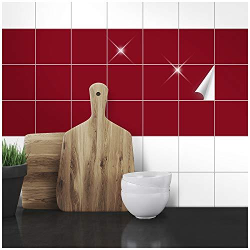 Wandkings Fliesenaufkleber - Wähle eine Farbe & Größe - Weinrot Glänzend - 10 x 10 cm - 300 Stück für Fliesen in Küche, Bad & mehr