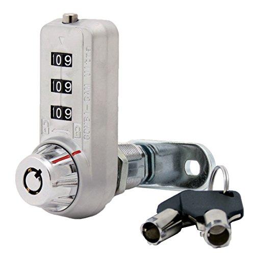 "Combi-Cam Ultra, 7440L & Keys, Combination Cam Lock with Master Key Override, 1-1/8"" Cylinder Length, Chrome Finish (Pack of 20 + Keys)"