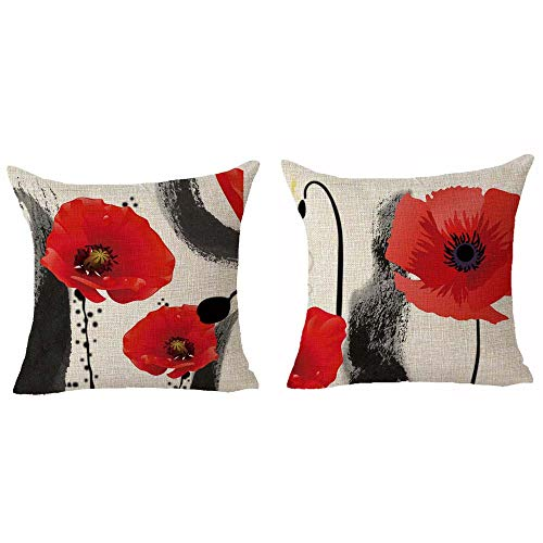 Queen's designer Set of 2 Red Poppy Flower Ink Painting Cotton Linen Home Decorative Throw Pillow Case Cushion Cover Square 18