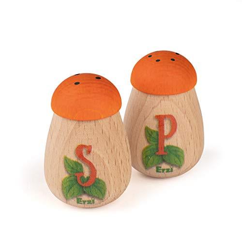 Erzi 10653 Salz- und Pfefferstreuer aus Holz, Kaufladenartikel für Kinder, Rollenspiele