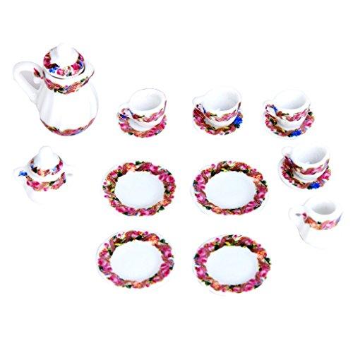 15 juegos de té en miniatura para casa de muñecas de porcelana...