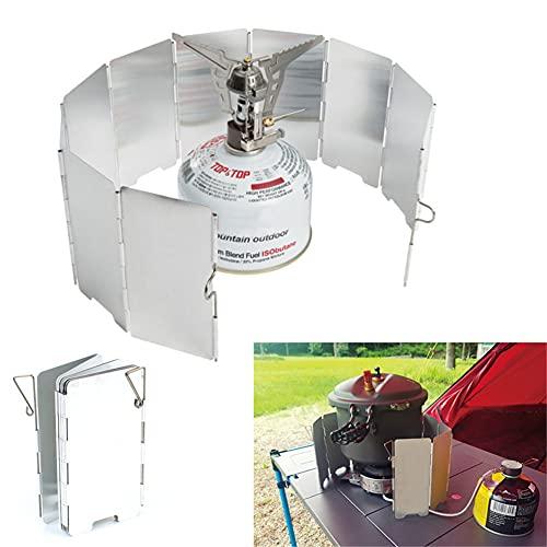 XER 9 Platos Cocina Plegable para Acampar al Aire Libre Pantallas de Viento para Estufas de Gas Parabrisas Aleación de Aluminio para Accesorio de Camping al Aire Libre