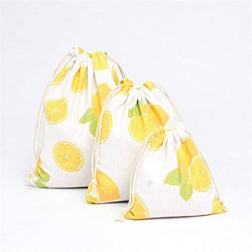 SDCVRE Bolsa de la Compra,4 Color Casual Women Cotton Drawstring Shopping Bag Eco Reusable Folding Grocery Cloth Underwear Pouch Case Travel Home Storage,Lemon 1,S