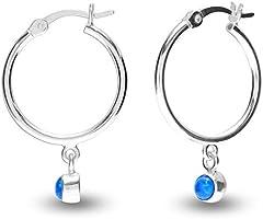 HIKARO Sterling Silver Jewelry Hanging Charm Hoop Earrings for Teens and Women (Gemstone Birthstone Round 3MM)