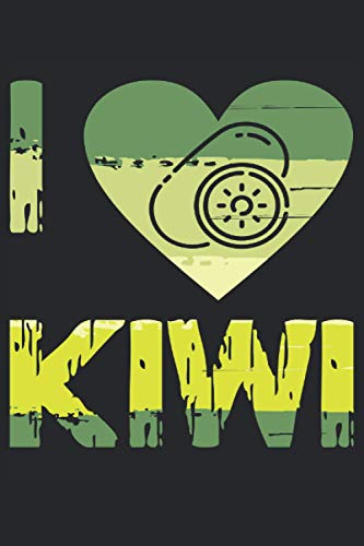 """I Love Kiwi: Notebook or Journal 6 x 9"""" 110 Pages Wide Lined Interior Flexible Paperback Matte Finish Writing Composition Note Keeping List Keeping Scheduling Studies Research Workbook"""
