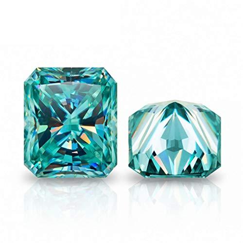 Gopi Gems Moissanita suelta 7.00 quilates, piedra moissanita de color azul, claridad VVS1, piedra brillante de corte radiante para hacer anillos vintage, joyas, colgantes, pendientes, collares