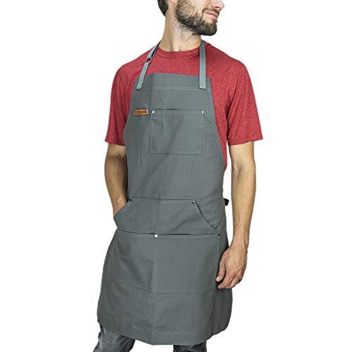 Chef Pomodoro Kochschürze für Männer und Damen - 67 cm x 87 cm - Küchenschürze mit flexiblen Taschen - Hochwertige Schürze zum Grillen, Kochen, Zuhause, Einheitsgröße, 100% Baumwolle (Grau)