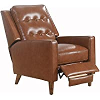 Abbyson Living Benjamin Mid-Century Top-Grain Leather Pushback Recliner (SK-3938-CAM-1) (Camel)