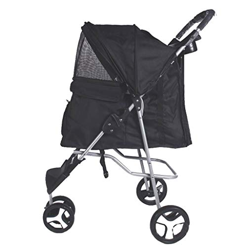 Kays Outing Row Cart Pet Dog Cat Bag Pram Oxford Cloth Light Folding Removable Washable 3 Wheels Black