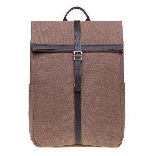 KAUKKO Roll Top Rucksack Canvas Lassiger Tagesrucksack Laptop Schulrucksack fit 14 Notebook fur Herren Damen 30 15 40 cm 18L Khaki JNL KS13 2 01