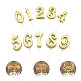 YFOX Candele per feste e compleanni 10 Numeri Candeline per compleanni e 3 carte di compleanno Candele per torta Decorazione per torta di compleanno per torta Compleanno per feste e compleanno Candele