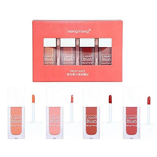 Allbestaye 4pcs Ensemble liquide Blush mat Teinte à lèvres Kit de maquillage Fard à joues Longue durée Imperméable