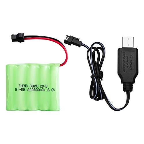 [Special Battery] Powerextra 6.0V 600mAh Rechargeable Ni-MH Battery with USB Charger Cable Only for Powerextra RC Stunt Car - Blue Red Green Monster