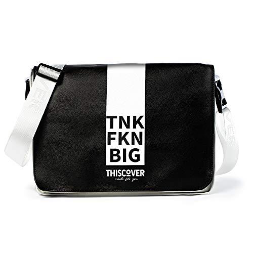 THISCOVER Umhängetasche - Laptoptasche - tnk fkn big- Tasche mit austauschbarem Cover - Deckel - Messenger Bag Wickeltasche, Korpusfarbe:weiß, Gurtfarbe:weiß