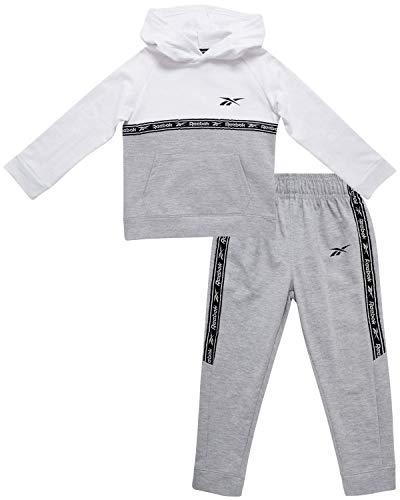 Reebok Baby Boy?s Tracksuit ? Athletic Fleece Sweatshirt and Jogger Sweatpants Playsuit Set (Infant/Toddler), Size 2T, White/Heather Grey