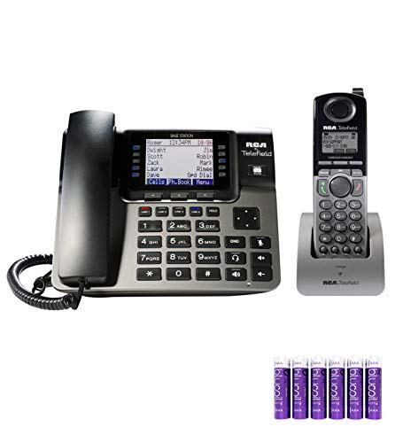 RCA U1000 Unison 4 Line Phone Systems with Full-Duplex Speakerphone for Small Business Bundle with U1200 Cordless Accessory Handset, and Blucoil 6 AAA Batteries