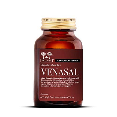 Salugea Venasal Integratore per la Circolazione - Vene e Capillari - 60 Capsule (1 Mese di Trattamento), Flacone in Vetro Scuro (No Plastica o Blister)