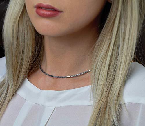 Hämatitkette, filigrane Halskette aus Hämatit für Damen, 925-er Silber, schönes Geschenk für Frauen