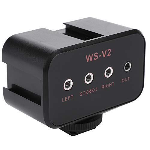 VINGVO Mixer Audio per Microfono per Fotocamera, Mixer per Adattatore Audio per Fotocamera Nero, Mixer Audio per Fotocamera per Fotocamere DSLR Due microfoni con ingressi da 3,5 mm La Maggior