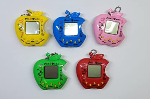 Juguete electrónico retro para mascotas, consola de juegos de mano, juguetes virtuales de animales, juguete de regalo de cumpleaños con llavero para adultos y niños (color al azar) (manzana)