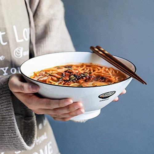 DJY-JY Cuenco creativo de cerámica blanca para ramen, pintado a mano, 20,32 cm, cuenco grande para sopa, cuenco para fideos, para frutas, ensalada, vajilla simple